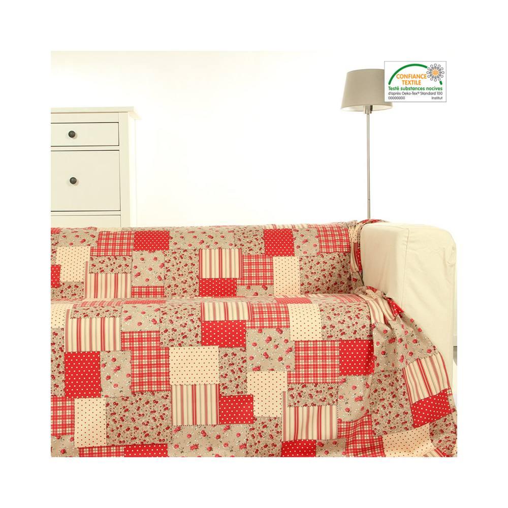 tissu liberty patchwork rouge et beige au m tre tissu pas. Black Bedroom Furniture Sets. Home Design Ideas