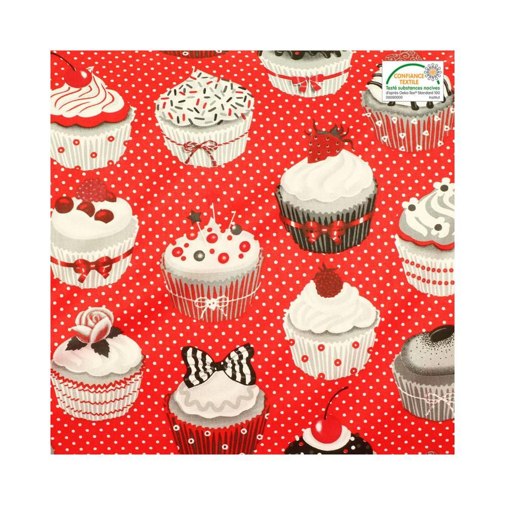 Chambre Bleu Beige Marron : Ameublement > Cuisine > Coton rouge cupcakes gris