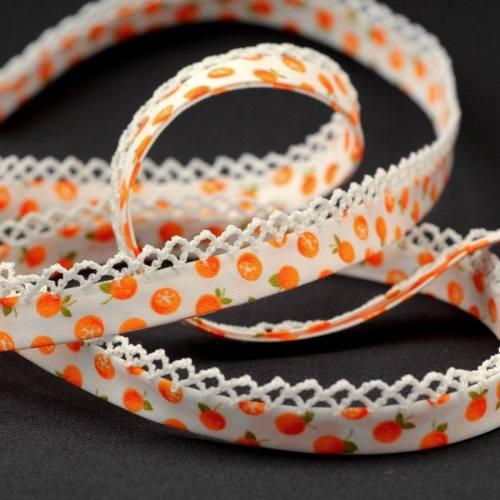 Biais replié picots fantaisie orange