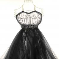 Tulle noir pour robe de mariée grande largeur