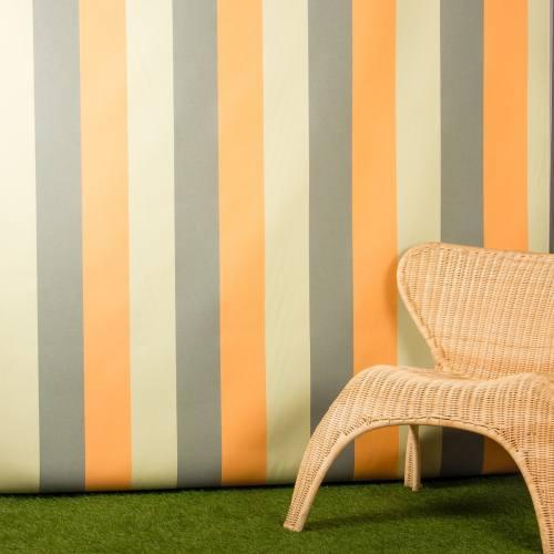 Toile extérieure Téflon grande largeur rayé vert,orange