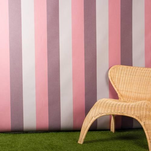 Toile extérieure Téflon grande largeur rayé grise, rose et violette