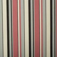 Toile extérieure Téflon grande largeur rayé grise et rose