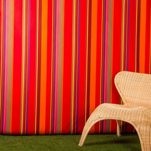 Toile extérieure Téflon grande largeur rayé rouge et taupe