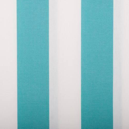 Toile extérieure Téflon grande largeur rayé blanc et bleu turquoise