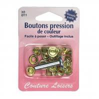 Kit de base boutons pression couleur or x6
