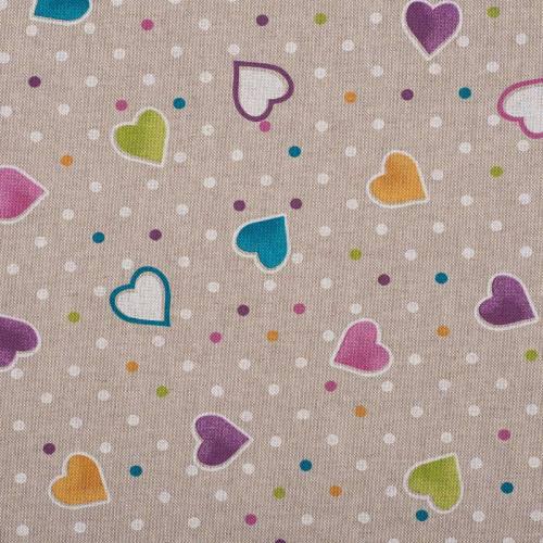 Coton enduit motifs cœurs bleus, roses, violets et oranges