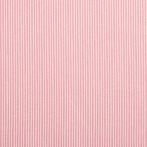Coton rose fines rayures blanches 3mm