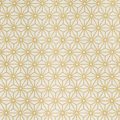 Coton blanc motif asanoha doré