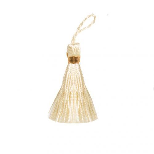 Pompon franges bicolore crème 4 cm