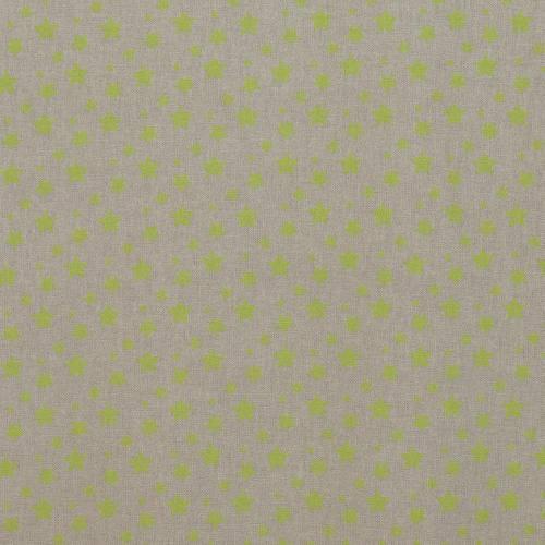 Toile coton effet lin imprimée étoiles anis