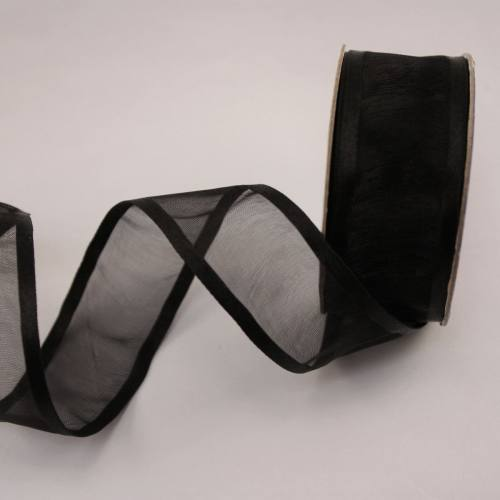 Ruban fantaisie en bobine noir 25 mm