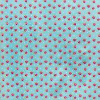 Coton bleu clair imprimé pois et roses
