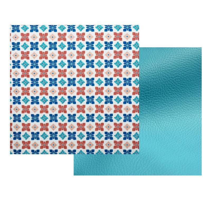 Lot de 2 coupons toile polyester carreaux de ciment for Toile ciree carreaux de ciment