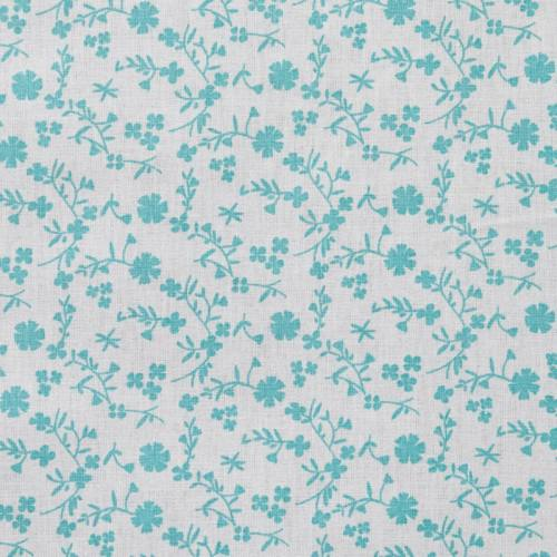 Coton fleurs margneg vert d'eau
