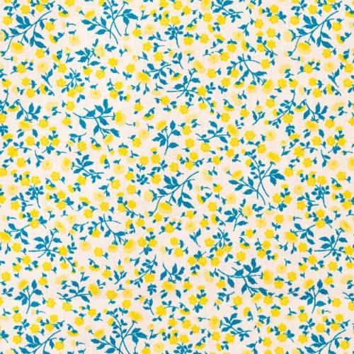 Coton blanc liberty bleu et jaune