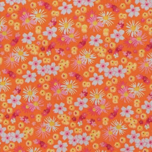 Coton fleurs zinia orange et rose