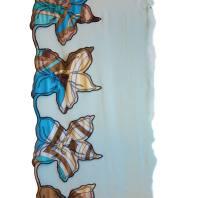 Ruban résille brodé bleu 25 cm