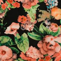 Satin impression numérique noir à fleur