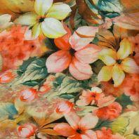 Satin impression numérique vert à fleur