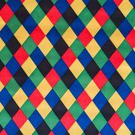 Satin arlequin bleu/vert/jaune/rouge