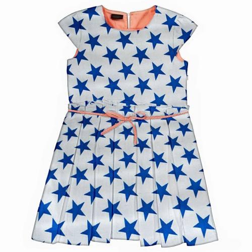 Satin blanc imprimé grandes étoiles bleues