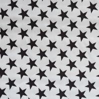 Satin blanc imprimé grandes étoiles noires