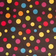 Satin noir pois multicolores