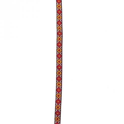 Galon jacquard losange argent, rouge et orange 10 mm