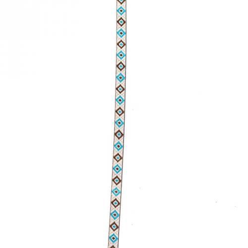 Galon jacquard losange bleu, argent et marron 10 mm