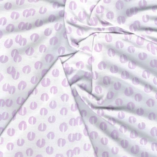 Coton percale blanc imprimé graine de café parme grande largeur