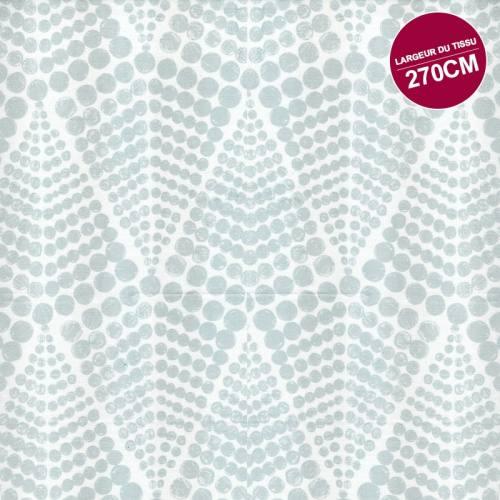 Rouleau 20m Coton percale blanc motif gros pois grande largeur