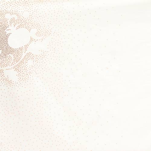 Rouleau 20m Coton percale écru imprimé dessin à pois ocre grande largeur