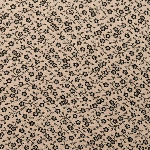 Tissu crêpe taupe à motif fleurs noires