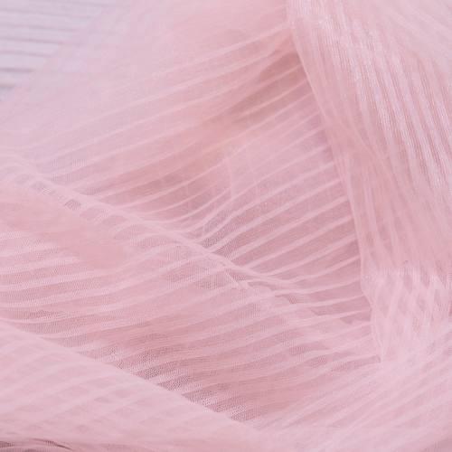 Tulle uni rose pastel plissé