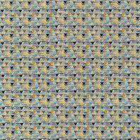 Popeline coton grand et petit trimix bleu et jaune