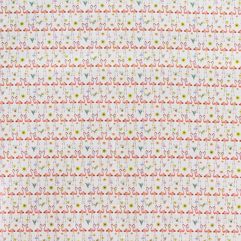 popeline coton cru motif flamant rose pas cher tissus price. Black Bedroom Furniture Sets. Home Design Ideas