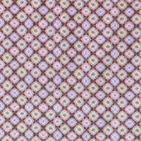 Popeline coton rose, ocre et jaune motif losange