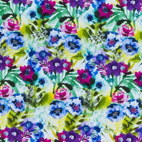 Popeline coton bleu et vert motif grande fleur