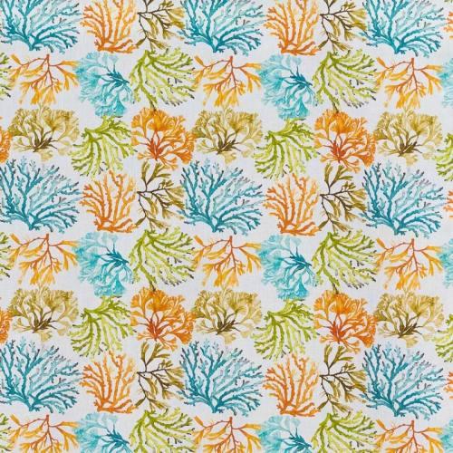 Popeline coton orange, bleu, vert et taupe motif corail