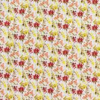 Popeline coton rouge à motif aquarelle
