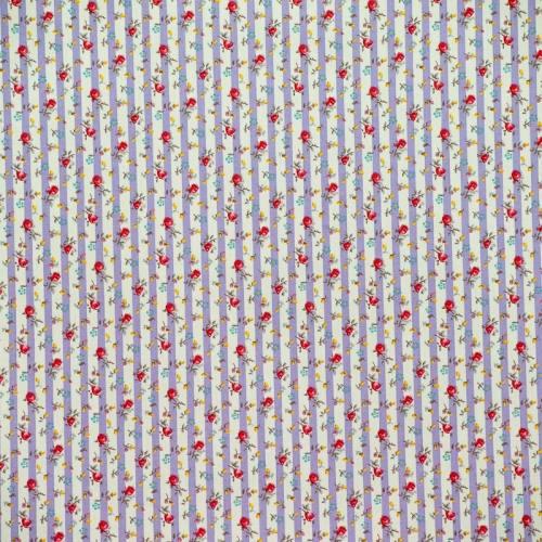 Popeline de coton rayé blanc et lilas