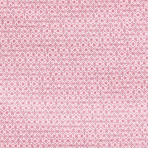 Coton blanc petit motif asanoha rose