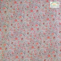 Coton bleu gris imprimé liberty beige et rouge