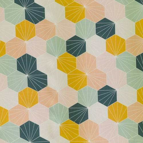 Coton impression numérique rose, ocre et vert d'eau motif scandinave