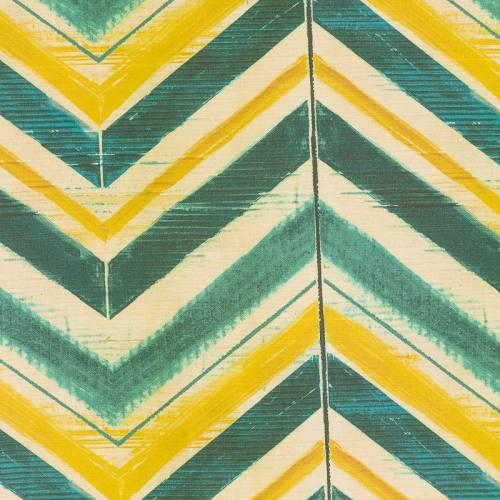Coton impression numérique motif chevron vert tilleul, bleu canard et beige