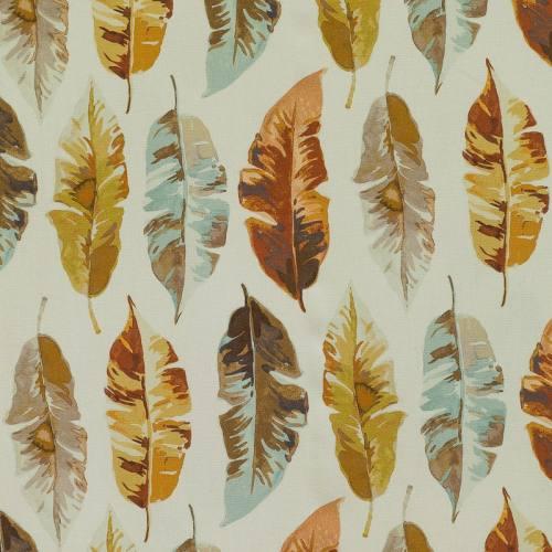 Coton impression numérique plume aquarelle marron, bleu et vert