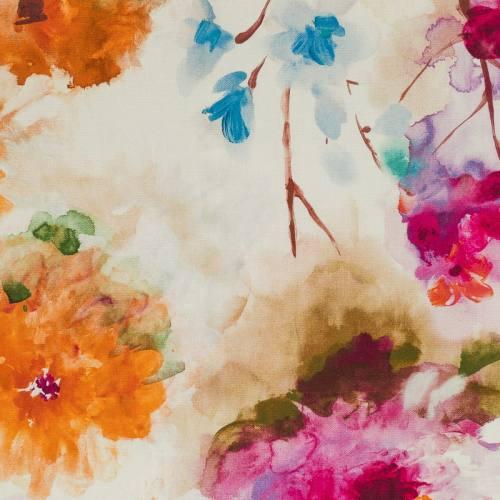 Coton impression numérique flowers orange et fuchsia