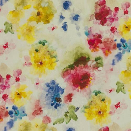 Coton impression numérique fleur aquarelle multicolore