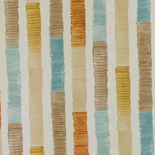 Coton impression numérique aquarelle bleu, orange et beige